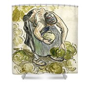 Woman Picking Cabbage Shower Curtain