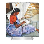 Woman Picking Rice Shower Curtain