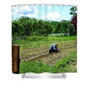 Woman Planting Garden Near Barn Shower Curtain