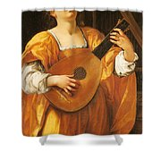 Woman Playing A Lute Shower Curtain
