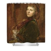 Woman Playing Violin Shower Curtain