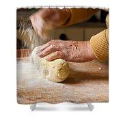 Woman Preparing Dough For Kopytka Shower Curtain