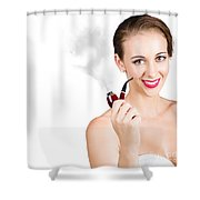 Woman Problem Solving With Pipe Shower Curtain