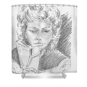 Woman Reading A Book Shower Curtain