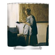 Woman Reading A Letter Shower Curtain by Jan Vermeer