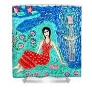 Woman Reading Beside Fountain Shower Curtain