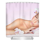 Woman Relaxing On Massage Table Shower Curtain