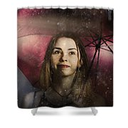 Woman Resilient In Storm Through Positive Thinking Shower Curtain