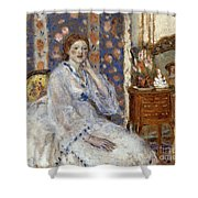 Woman Seated In An Armchair Shower Curtain