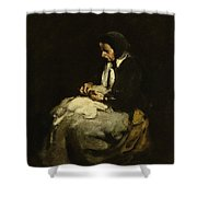 Woman Sewing Shower Curtain