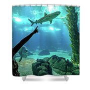 Woman Shark Enjoyng Shower Curtain