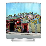 Woman Sits Outside Chinese Temple With Urn And Deity Statues Pattani Thailand Shower Curtain
