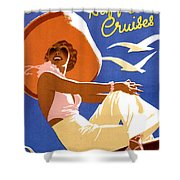 Woman Sitting On A Cruising Ship Shower Curtain