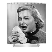 Woman Sneezing Shower Curtain