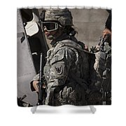 Woman Soldier Conducts A Combat Shower Curtain