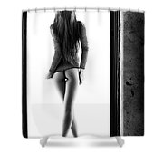 Woman Standing In Doorway Shower Curtain