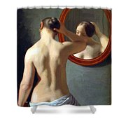 Woman Standing In Front Of A Mirror 1841 Shower Curtain