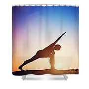 Woman Standing In Revolved Side Angle Yoga Pose Meditating At Sunset Shower Curtain