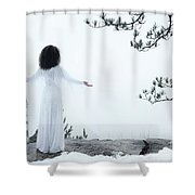 Woman Standing On A Cliff With Spread Hands Embracing The World Shower Curtain