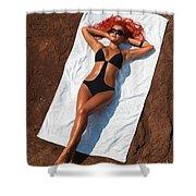 Woman Sunbathing Shower Curtain