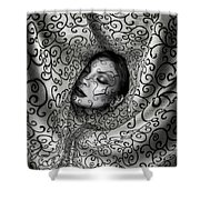 Woman Surrounded By Cloth Of Paisley Prints Shower Curtain
