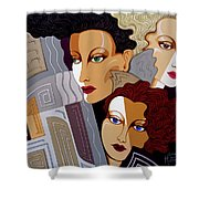 Woman Times Three Shower Curtain by Tara Hutton