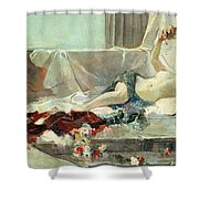 Woman Undressed Shower Curtain