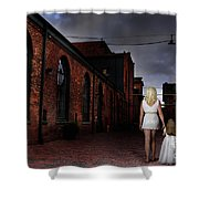 Woman Walking Away With A Child Shower Curtain