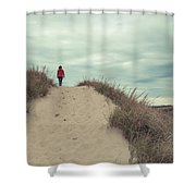 Woman Walking In The Dunes Of Cape Cod Shower Curtain