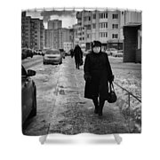 Woman Walking On Path In Russia Shower Curtain