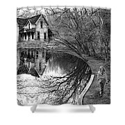Woman Walking To Old House Shower Curtain