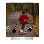 Woman Walks Her Army Of Dogs Dressed Shower Curtain