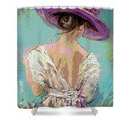Woman Wearing A Purple Hat Shower Curtain