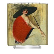 Woman Wearing Hat Shower Curtain