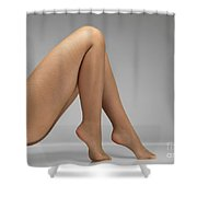 Woman Wearing Pantyhose Shower Curtain