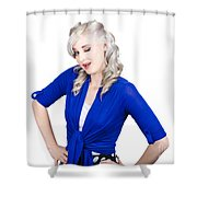Woman Winking Eye In Lashes. Retro Makeup Style Shower Curtain