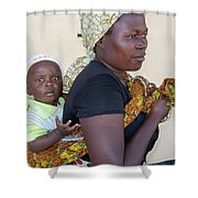 Woman With A Baby In Tanzania Shower Curtain