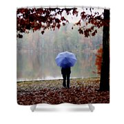 Woman With A Blue Umbrella Shower Curtain