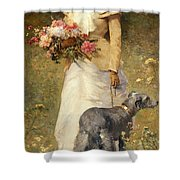 Woman With A Dog Shower Curtain