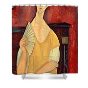 Woman With A Fan Shower Curtain by Amedeo Modigliani