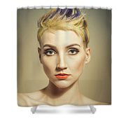 Woman With A Funky Hairstyle Shower Curtain