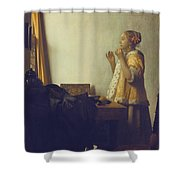 Woman With A Pearl Necklace Shower Curtain