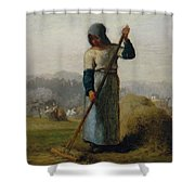 Woman With A Rake Shower Curtain