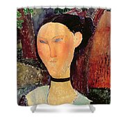 Woman With A Velvet Neckband Shower Curtain by Amedeo Modigliani