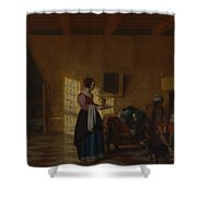 Woman With A Water Pitcher And A Man By A Bed The Maidservant Shower Curtain