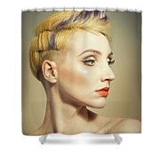 Woman With An Edgy Hairstyle Shower Curtain
