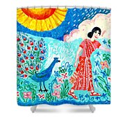 Woman With Apple And Peacock Shower Curtain by Sushila Burgess