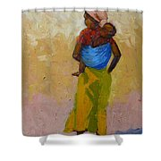 Woman With Baby Shower Curtain