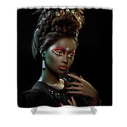 Woman With Beehive Hairstyle And Jewelry Headdress Shower Curtain