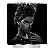 Woman With Beehive Hairstyle And Jewelry Headdress Owner Shower Curtain
